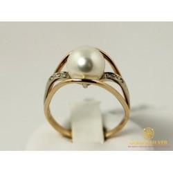 Золотое кольцо 585 проба. Женское Кольцо с красного золота с вставкой Жемчуг и Бриллиант 11580