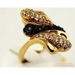 Золотое кольцо 585 проба. Женское Кольцо с красного золота с черным и белым камнем. 9,36 грамма. kv298010i