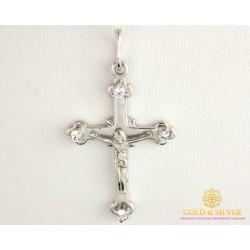 Золотой Крест 585 проба. Крест женский с белого золота 5741700