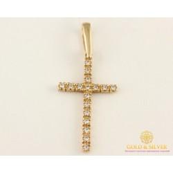 Золотой Крест 585 проба. Крест с красного золота, россыпь камней kp267