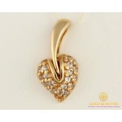 Золотой Кулон 585 проба. Подвес с красного золота, Сердце Листок pv010i