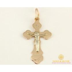 Золотой Крест 585 проба. Крест с красного и белого золота, 1,34 грамма. 230127
