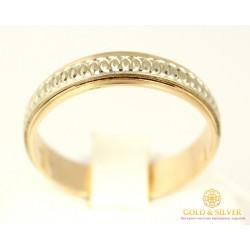 Золотое обручальное кольцо 585 проба. Обручальное Кольцо с красного и белого золота, ok056