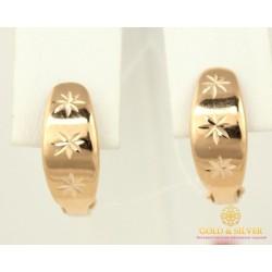 Золотые Серьги 585 проба. Женские серьги с красного золота без вставок 1,43 грамма 470308