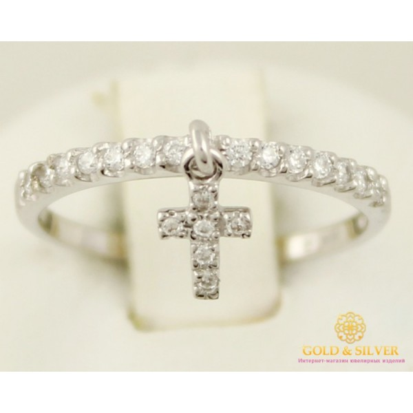 Золотое кольцо 585 проба. Кольцо белое золото с крестиком. 1,16 грамма. кв933.1и , Gold &amp Silver Gold & Silver, Украина