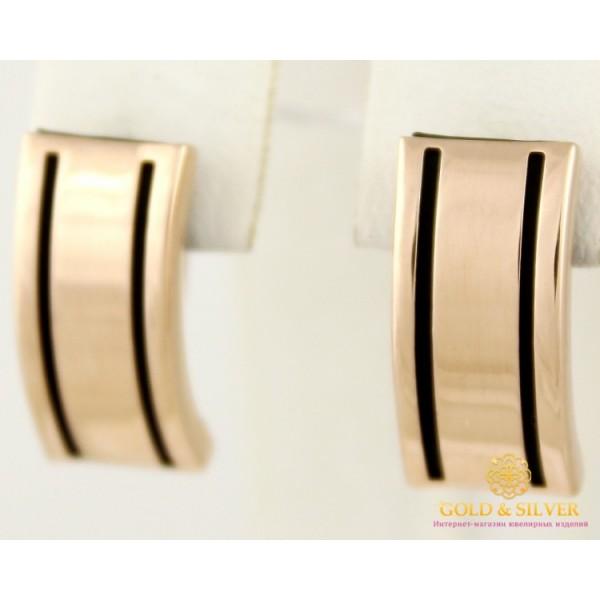 Золотые серьги 585 проба. Женские серьги с красного золота с каучуком. 2,95 грамма. 930007 , Gold &amp Silver Gold & Silver, Украина