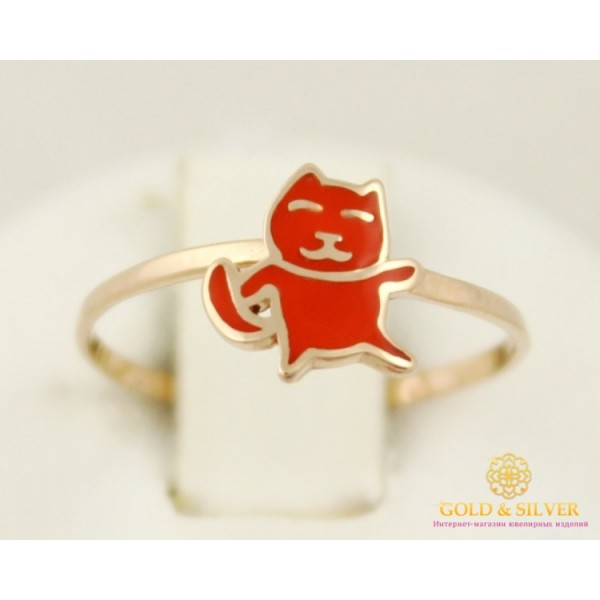 Золотое кольцо 585 проба. Детское колечко с красного золота, Котик, с вставкой эмали. 300370е , Gold & Silver Gold & Silver, Украина