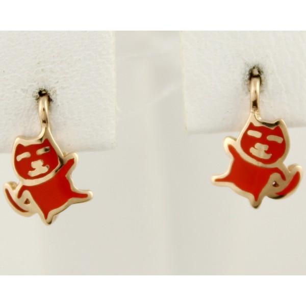 Золотые серьги 585 проба. Детские серьги с красного золота, Котики, с вставкой эмали. 400204е , Gold & Silver Gold & Silver, Украина