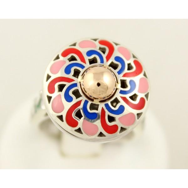 Серебряное кольцо 925 проба. Женское кольцо с вставкой красного золота, ювелирная эмаль. 310263Н , Gold & Silver Gold & Silver, Украина