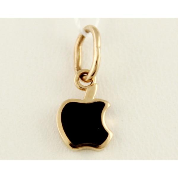 Золотой подвес 585 проба. Кулон с красного золота Apple (яблоко), с вставкой ювелирной эмали. 130233е , Gold & Silver Gold & Silver, Украина