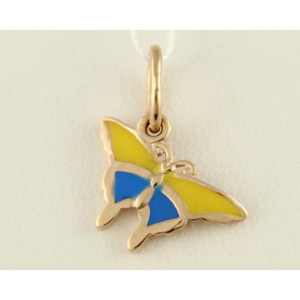 Золотой подвес 585 проба. Кулон с красного золота, Украинская бабочка. 130245е , Gold &amp Silver Gold & Silver, Украина