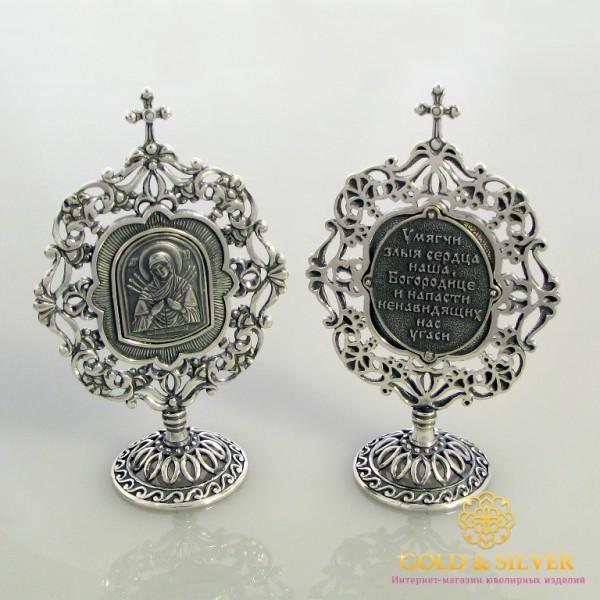 Серебряная Икона 925 проба. Икона Настольная Пресвятая Богородица (Семистрельная) 61260 , Gold & Silver Gold & Silver, Украина