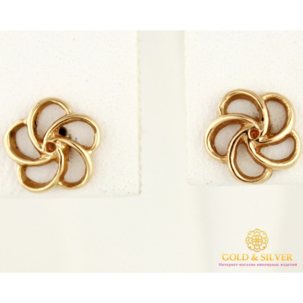 Золотые Серьги 585 проба. Женские серьги с красного золота, Пуссеты Лепестки 23212 , Gold &amp Silver Gold & Silver, Украина