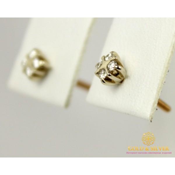 Золотые Серьги 585 проба. Женские серьги с красного и белого золота, Пуссеты, с вставкой Бриллиант 20040 , Gold & Silver Gold & Silver, Украина