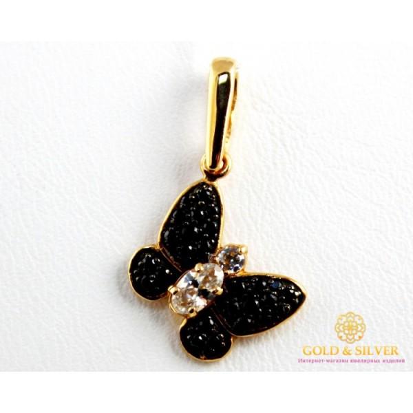 Золотой Кулон 585 проба. Подвес с красного золота, черные камни, Бабочка 063010 , Gold &amp Silver Gold & Silver, Украина