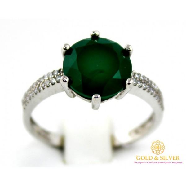 Серебряное кольцо 925 проба. Женское серебряное Кольцо Стефани с вставкой Зеленый Агат 20989p , Gold & Silver Gold & Silver, Украина