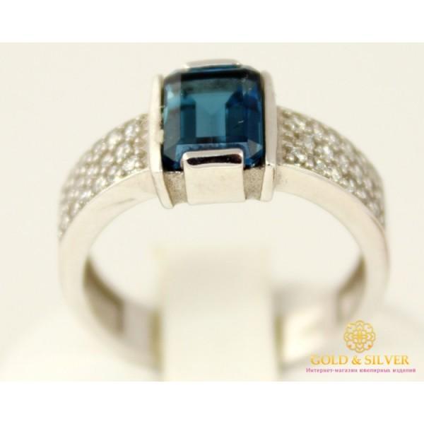 Серебряное кольцо 925 проба. Женское серебярное Кольцо Фрезия с вставкой Лондон Топаз 16149p , Gold & Silver Gold & Silver, Украина