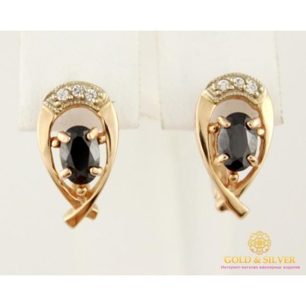 Золотые серьги 585 проба. женские Серьги черные камни с красного золота. св260010i , Gold & Silver Gold & Silver, Украина