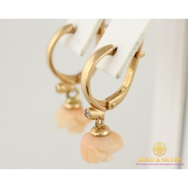 Золотые Серьги 585 проба. Женские серьги с красного золота, Роза Коралл cv0004 , Gold &amp Silver Gold & Silver, Украина