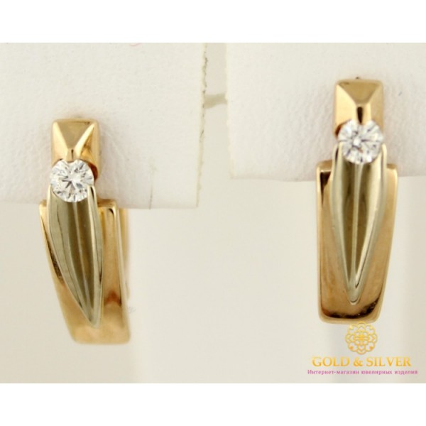 Золотые Серьги 585 проба. Женские серьги с красного и белого золота с вставкой Бриллиант 2,88 грамма 0,11 карат 20820 , Gold &amp Silver Gold & Silver, Украина
