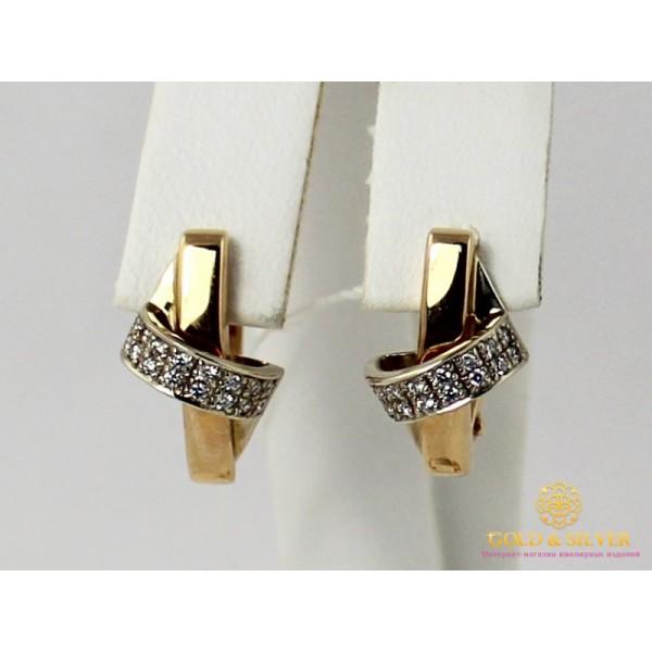Золотые Серьги 585 проба. Женские серьги с красного и белого золота, с вставкой Бриллиант 5,5 грамма 22720 , Gold & Silver Gold & Silver, Украина