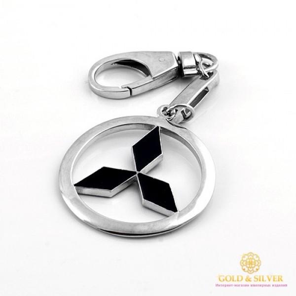 Серебряный Брелок 925 проба. Брелок Mitsubishi с вставкой черной эмали. 8128e , Gold & Silver Gold & Silver, Украина