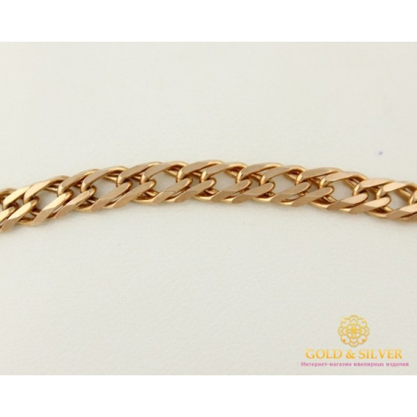 Золотой Браслет 585 проба. Мужской браслет с красного золота, плетение Ромб Двойной 50206210043 , Gold &amp Silver Gold & Silver, Украина
