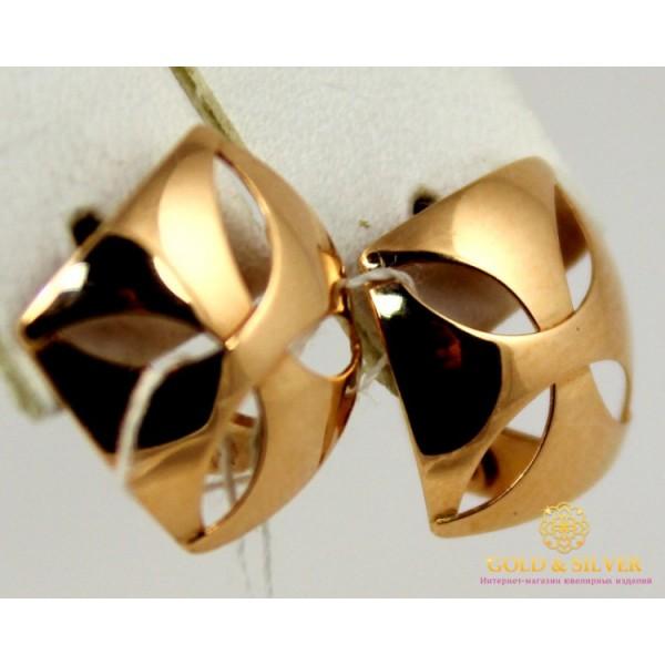 Золотые Серьги 585 проба. Женские серьги с красного золота, Ромб без вставок 1,54 грамма 470367 , Gold & Silver Gold & Silver, Украина