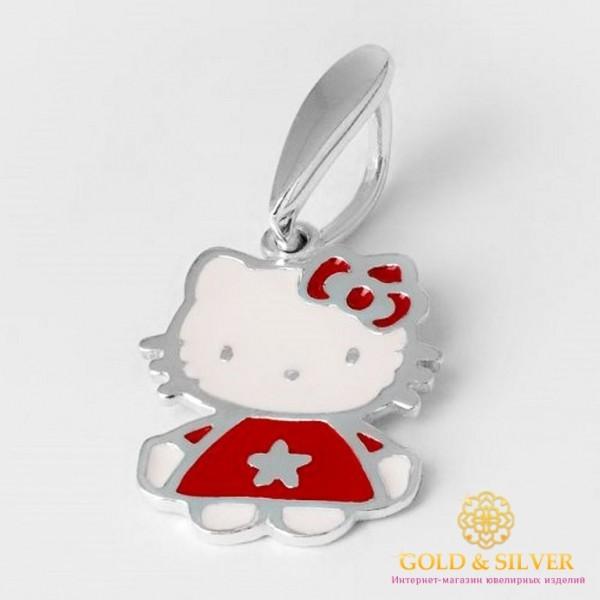 Серебряный подвес 925 проба. Кулон детский 'Hello Kitty' эмаль 3671e , Gold & Silver Gold & Silver, Украина