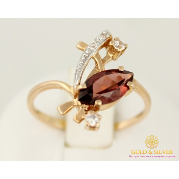 Золотое кольцо 585 проба. Женское Кольцо с красного золота с вставкой Гранат, 2,14 грамма. 11531 , Gold & Silver Gold & Silver, Украина