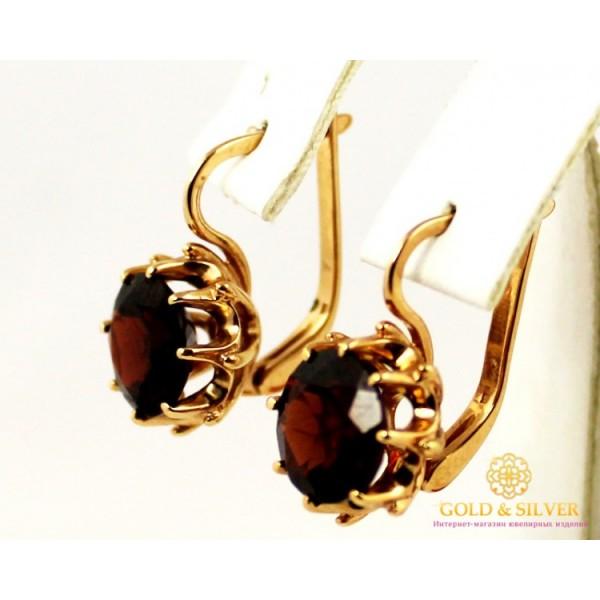 Золотые Серьги 585 проба. Женские  серьги с красного золота, с вставкой Гранат 444042 , Gold &amp Silver Gold & Silver, Украина