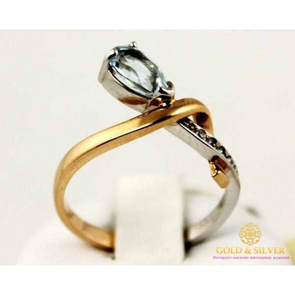 Золотое кольцо 585 проба. Женское Кольцо с красного и белого золота с вставкой Топаз 110130 , Gold &amp Silver Gold & Silver, Украина