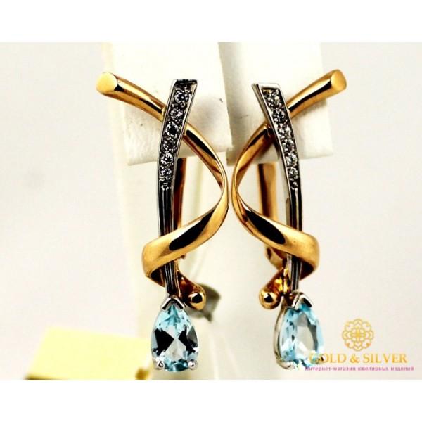 Золотые Серьги 585 проба. Женские серьги с красного и белого золота, с вставкой Топаз 12013 , Gold &amp Silver Gold & Silver, Украина