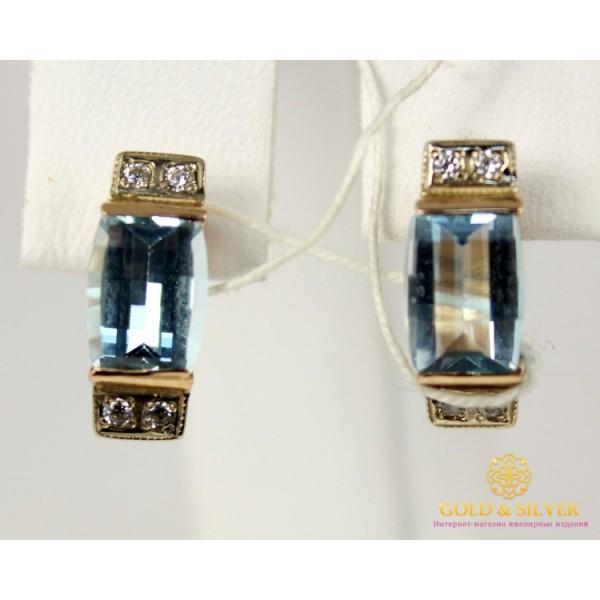 Золотые Серьги 585 проба. Женские серьги с красного золота, с вставкой Топаз 5,56 грамма 5539720 , Gold &amp Silver Gold & Silver, Украина