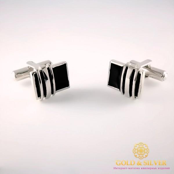 Серебряные запонки 925 проба. Запонки для мужчин с черной эмалью. 8248e , Gold & Silver Gold & Silver, Украина
