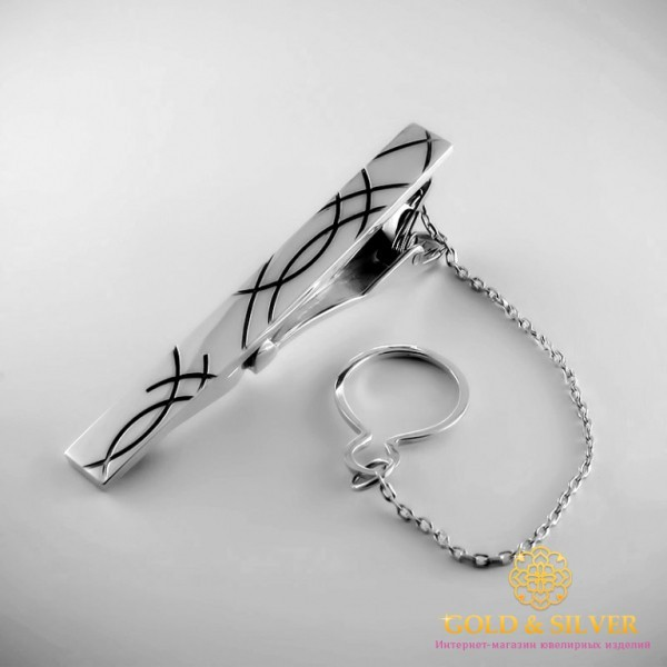 Серебряный зажим для галстука 925 проба. Мужской зажим серебряный. 8346 , Gold & Silver Gold & Silver, Украина