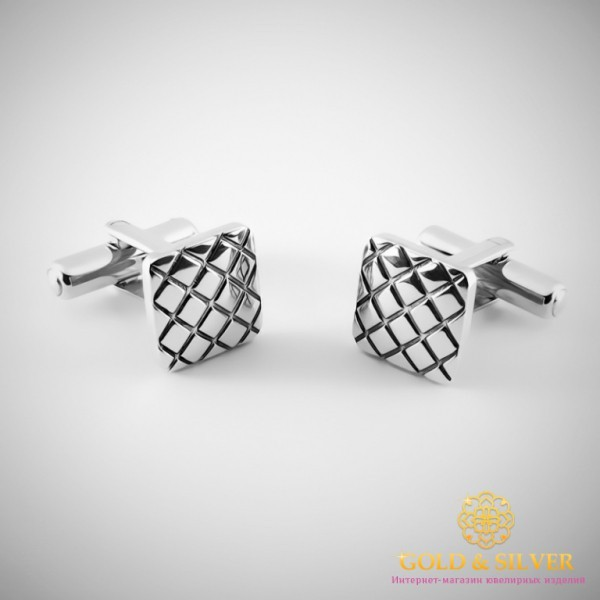 Серебряные запонки 925 проба. Запонки для мужчин рельефные. 8245 , Gold & Silver Gold & Silver, Украина