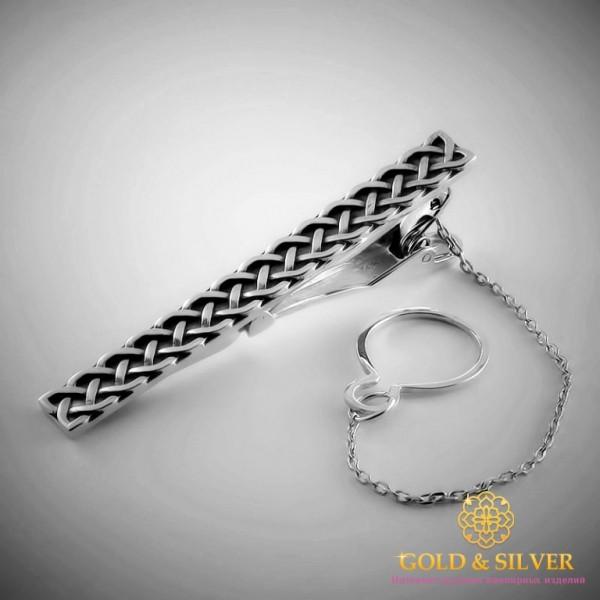 Серебряный зажим для галстука 925 проба. Мужской зажим серебряный. 8444 , Gold & Silver Gold & Silver, Украина
