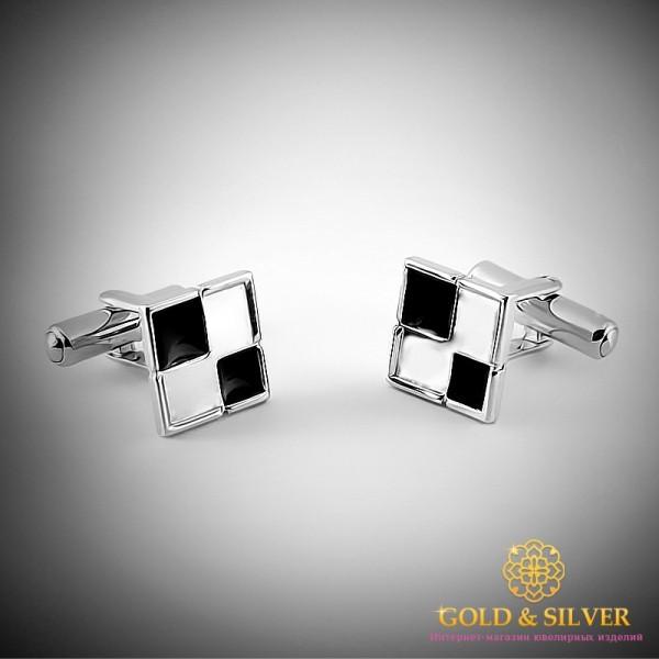 Серебряные запонки 925 проба. Запонки для мужчин с черной и белой эмалью . 8247э , Gold &amp Silver Gold & Silver, Украина