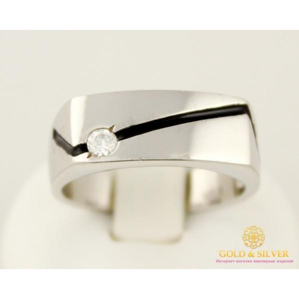 Серебряное кольцо 925 пробы. Мужское Кольцо с черной эмалью. 1555e , Gold & Silver Gold & Silver, Украина