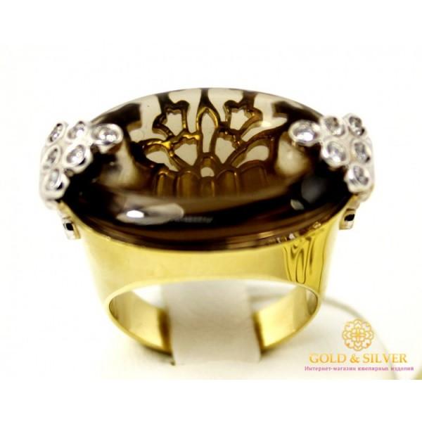 Золотое кольцо 585 проба. Женское Кольцо с желтого золота с вставкой Дымчатый Кварц. 14,06 грамма. 11349 , Gold &amp Silver Gold & Silver, Украина