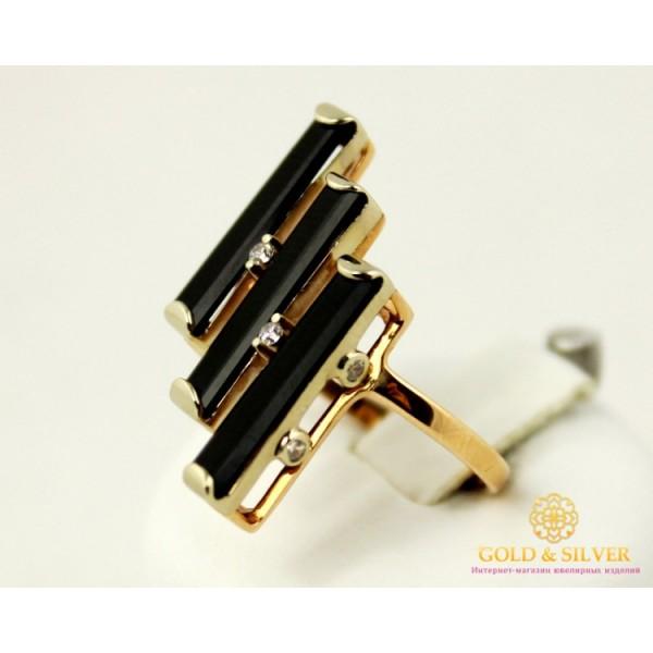 Золотое кольцо 585 проба. Женское Кольцо с красного золота с вставкой Агат, черного цвета. 3,93 грамма. 379505 , Gold & Silver Gold & Silver, Украина