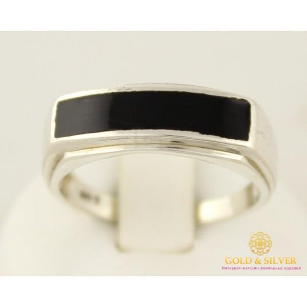 Серебряное кольцо 925 проба. Кольцо мужское с черной эмалью. 1589e , Gold & Silver Gold & Silver, Украина