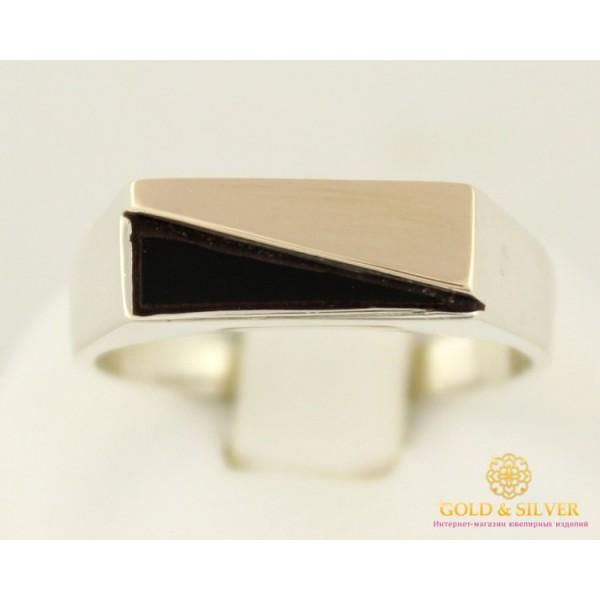 Серебряное кольцо 875 проба. Мужское кольцо с вставкой золота 375 пробы. 369z , Gold & Silver Gold & Silver, Украина