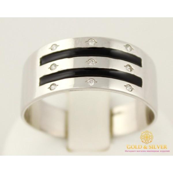 Серебряное кольцо 925 проба. Кольцо с черной эмалью 5.3 грамма. 1547e , Gold & Silver Gold & Silver, Украина