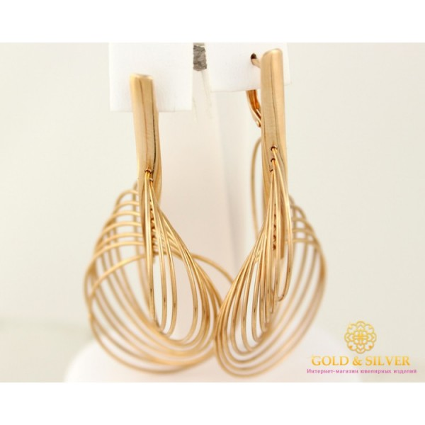 Золотые Серьги 585 проба. Женские серьги с красного золота, Галактика. Свисающие без камней 8,65 грамма 480021 , Gold &amp Silver Gold & Silver, Украина