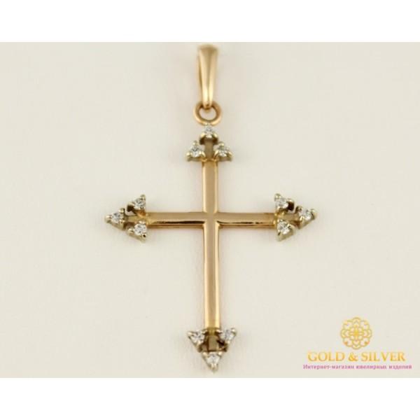 Золотой Крест 585 проба. Крест с красного золота, с камнями. 5141690 , Gold &amp Silver Gold & Silver, Украина