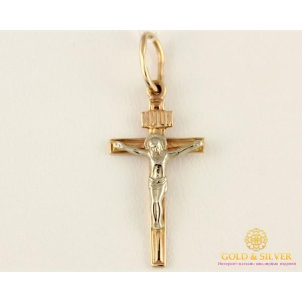 Золотой Крест 585 проба. крестик с красного и белого золота. kp096i , Gold & Silver Gold & Silver, Украина