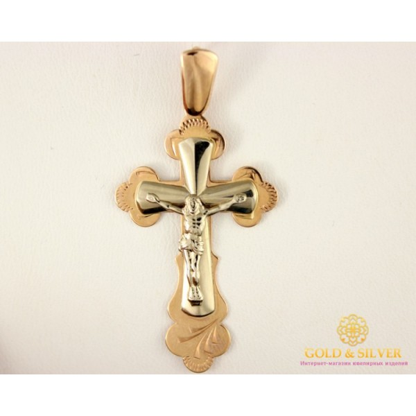 Золотой Крестик красное и белое золото 210057 , Gold & Silver Gold & Silver, Украина