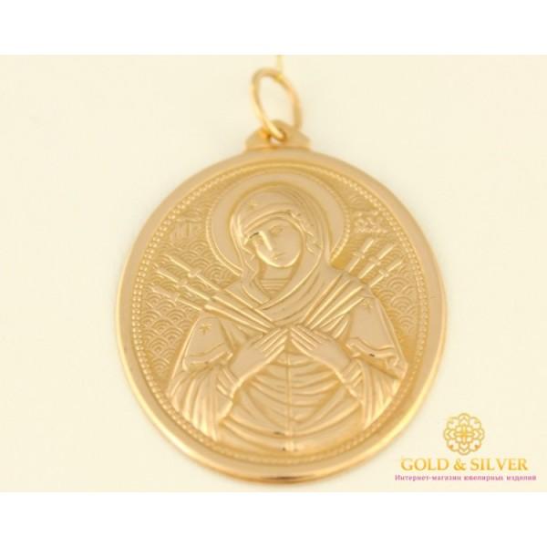 Золотая Нательная Икона 585 проба. Подвес с красного золота, Божья Матерь Семистрельная 100494 , Gold & Silver Gold & Silver, Украина